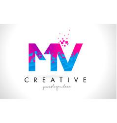 mv m v letter logo with shattered broken blue vector image