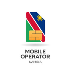 Nambia mobile operator sim card with flag vector