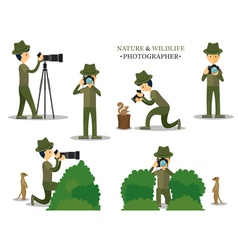Nature and Wildlife Photographer with Camera vector