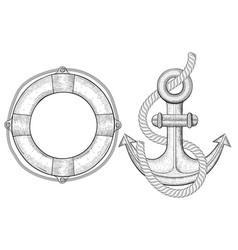 nautical symbols - lifebuoy anchor hand drawn vector image