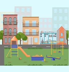 orange playground kindergarten city buildings vector image