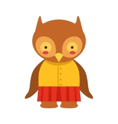 Owl In Yellow Top And Red Skirt Cute Toy Baby vector