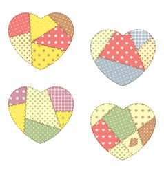 Patchwork hearts vector