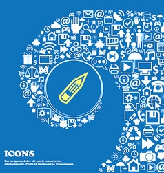 Pencil sign symbol Nice set of beautiful icons vector
