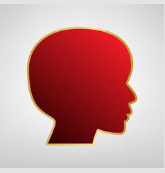 People head sign red icon on gold sticker vector