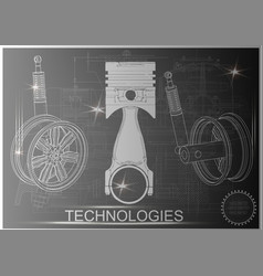 piston and shock absorber on a black vector image