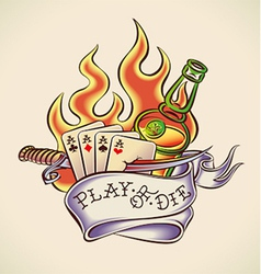 play die - tattoo design vector image