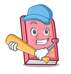 playing baseball diary character cartoon style vector image