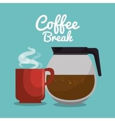 pot glass coffee and mug red graphic vector image