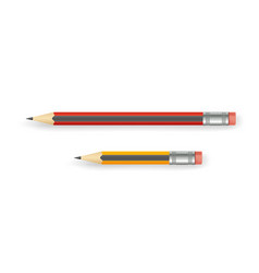 realistic pencils with eraser of various lengths vector image