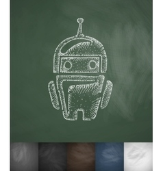 Robot icon Hand drawn vector