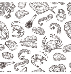 seafood pattern hand drawn ink sea life sketch vector image