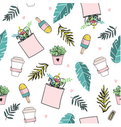 seamless pattern in pastel colors with summer vector image