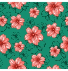 Seamless pattern with pink flowers on the vector image