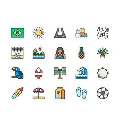 set brazilian culture flat color icons toucan vector image