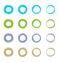 set circle grunge logo template design vector image