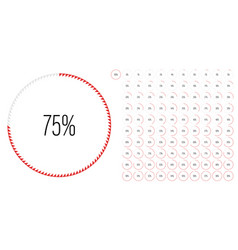 Set circle percentage diagrams from 0 to 100 vector