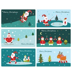 Set cute christmas banners vector