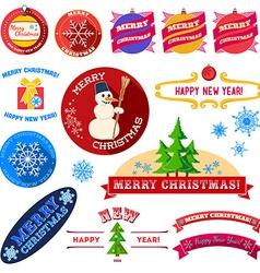 Set of flat Christmas vintage labels vector image