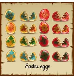 Set of solid and broken coloured Easter eggs vector