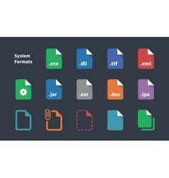 Set of System File Formats icons vector image