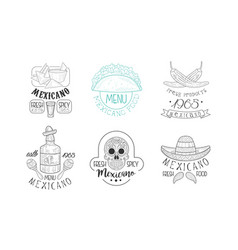 set sketch emblems for mexican vector image