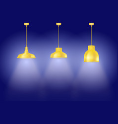 Set yellow vintage lamps vector