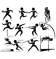 Silhouette icons for track and fields vector image