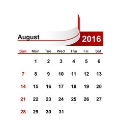 Simple calendar 2016 year august month vector
