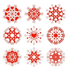 Ssnowflake heart view icon set Christmas vector image