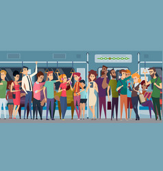 Subway rush hour crowd in urban metro daily vector