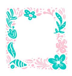 summer floral frame tropical composition vector image