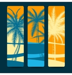 Summer style bookmarks with palm trees vector image