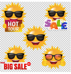 Sun smile collection isolated transparent vector