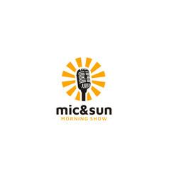 sunrise mic microphone morning podcast radio logo vector image