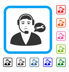 Support center operator framed unhappy icon vector