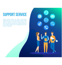 Support office web call center people flat vector