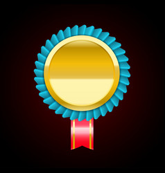 The blue golden badge medal vector