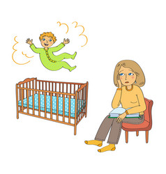 toddler jumps in the bed and mother is sad vector image