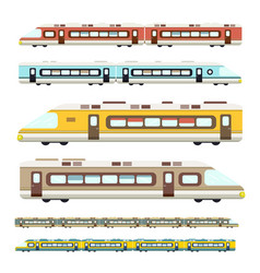 Train flat design modern trains icons set vector