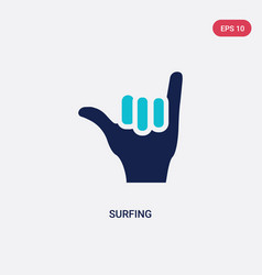 two color surfing icon from gestures concept vector image
