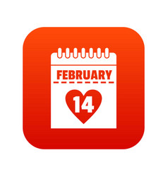 valentines day calendar icon digital red vector image