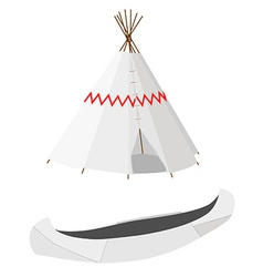 White canoe and wigwam vector image