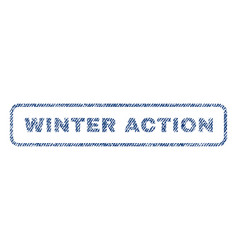 Winter action textile stamp vector