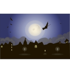 Witch on night sky vector image