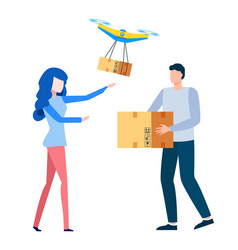 woman customer receiving goods delivery system vector image