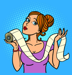 woman lady girl and toilet paper vector image