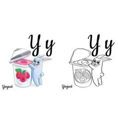 yogurt alphabet letter y coloring page vector image