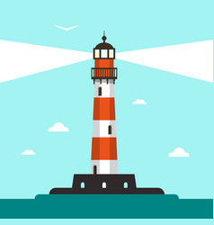 flat design lighthouse with sea and blue sky vector image