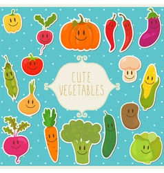 Frame cute vegetables healthy food vector image vector image